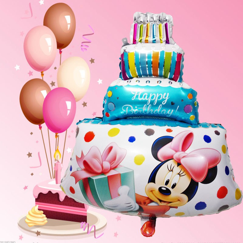 1pcs Large Size Pink Minnie Mickey Party Balloons Big Birthday Cake Air Balon Happy Decorations Baby Shower Ballons Toy In Accessories