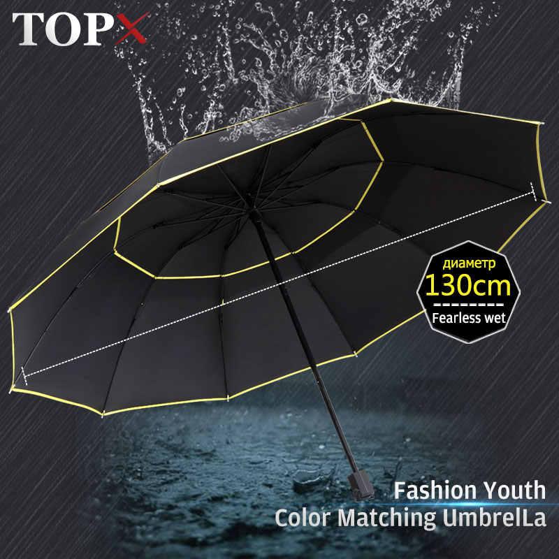 130 CM paraguas doble Laye lluvia mujeres 3 plegable resistente al viento gran paraguas hombres calidad negro revestimiento 10 K portátil paraguas