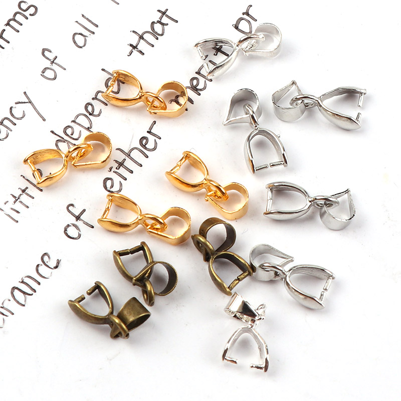 7mm Metal Clasps Pinch Clips Bails Charm Connectors Melon Seeds Buckle Pendant DIY Necklace Bracelet Connectors Jewelry Findings