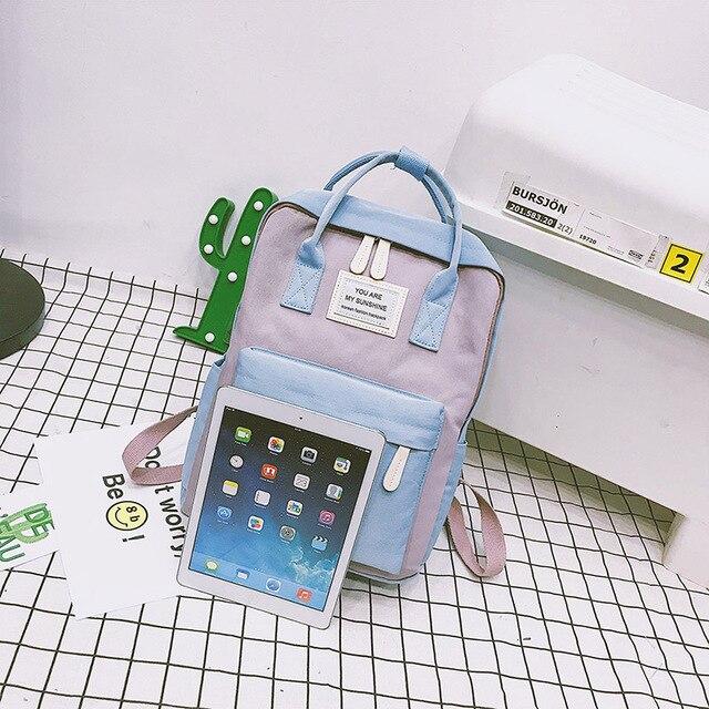 Vrouwen Canvas Rugzakken Snoep Kleur Waterdichte Schooltassen voor Tieners Meisjes Grote Leuke Laptop Rugzak Patchwork Kawaii Rugzak