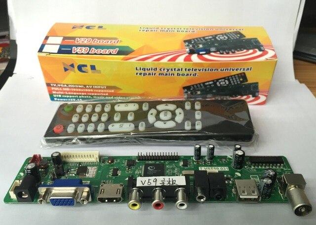 9e8bc90bda2 xcl V59 Universal LCD Controller Board TV Motherboard VGA HDMI AV TV USB  Interface with remote