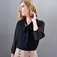 Solid Black Silk Bow Single Breasted Nine Sleeve Blouse 2019 New Women Spring Summer Office Lady Work Loose Straight Shirts