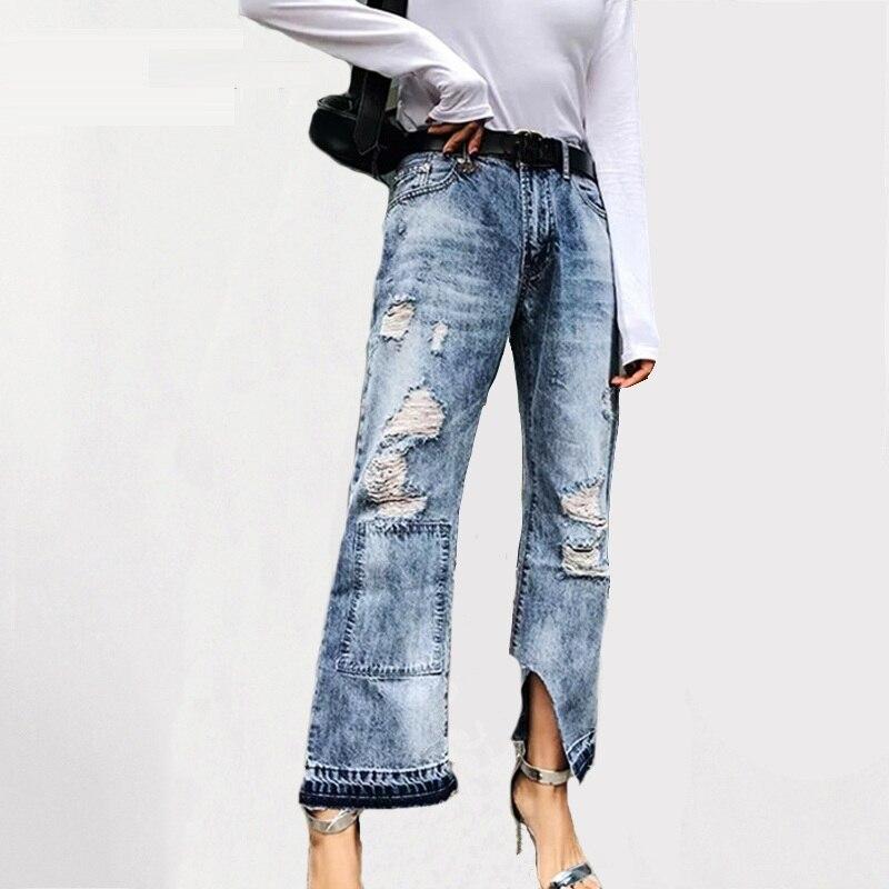 High waist Blue burr hole   jeans   female Casual pocket pants Winter 2018 denim pants women bottom ripped wide leg   jeans   women