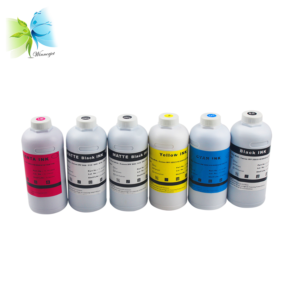 6 Colors PFI 102 Water Based Ink For Canon IPF 500 510 600 610 700 710 Dye Ink