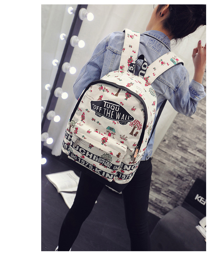 Fashion Flower Printing Women Backpack Preppy Style Students School Bag High Quality New Arrive Letter Shoulder