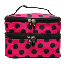 Chic Lady's Dot Makeup Cosmetic Tool Storage Toiletry Rose Red