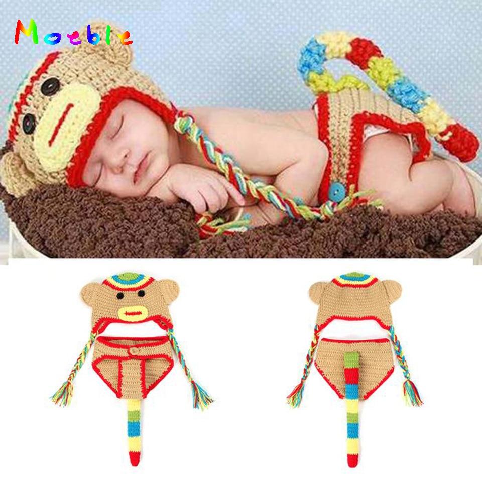 Lujoso Patrón De Crochet Calcetín Sombrero Del Mono Libre Festooning ...