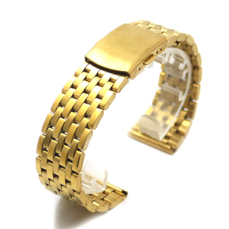 18/20/22mm Watch Band Men Women Wrist Strap Stainless Steel Fold Over Clasp Buckle Gold 2 Spring Bars High Quality Solid Link alluring low cut long sleeve shirred dress