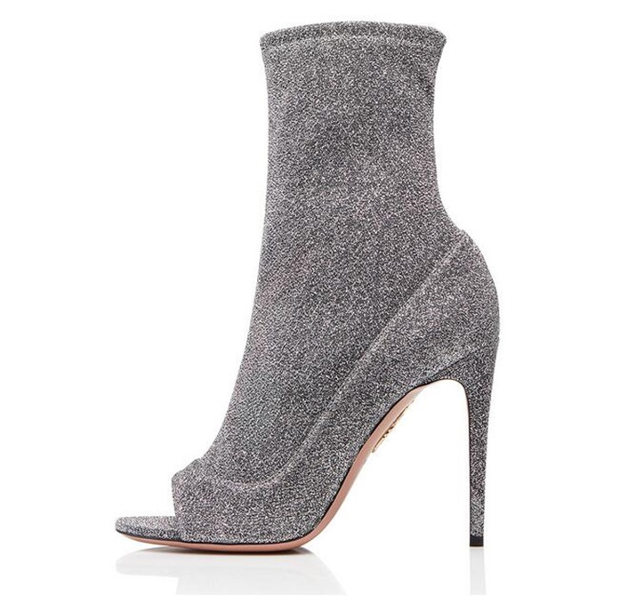 Sexy Sock Boots Women Spring Autumn High Heel Peep Toe Ankle Boots Stretch Fabric Pleaser Boots Stiletto Shoes Plus Size 36-46 sexy women high heels stretch fabric sock boots knitted ankle boots winter sexy genuine leather pointed toe stiletto shoes botas