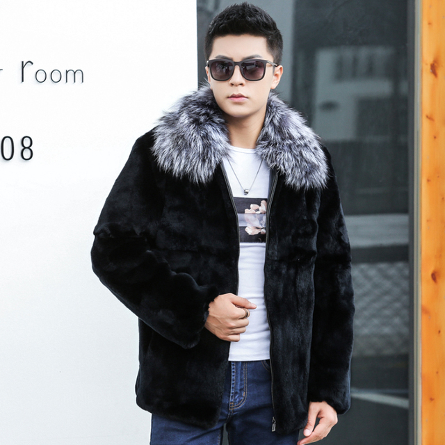 57407bc78d254 US $89.6 30% OFF 100% Nature Rabbit Fur Coat Men Jeckets With Real Silver  Fox Fur Collar 2018 New Warm Winter Real Fur Coats Overcoat-in Jackets from  ...