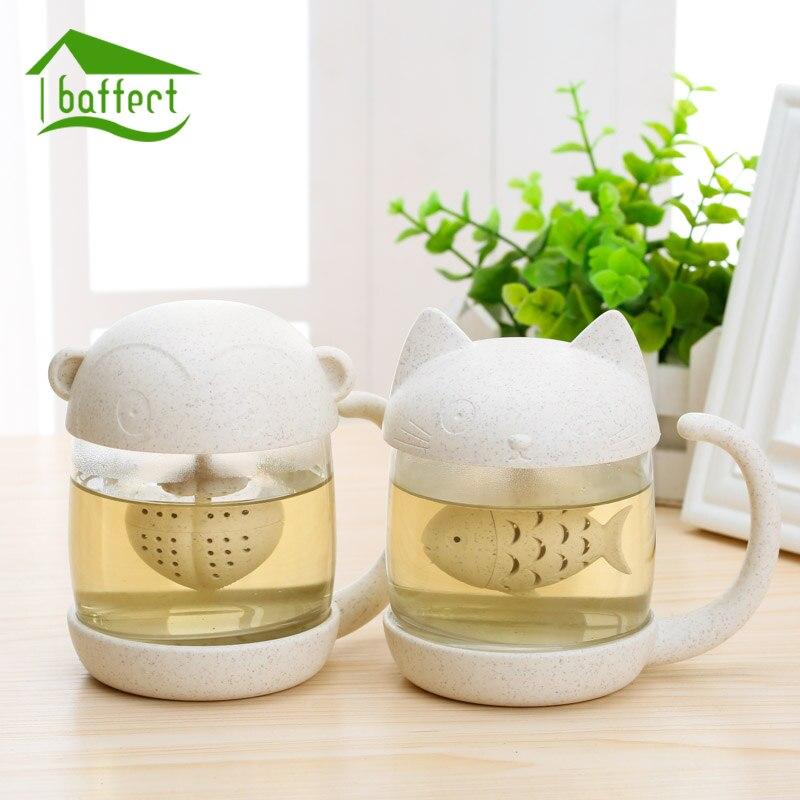 Kreative Neue Teesieb Katze Affe Tee-ei Tasse Gräser becher Teekanne Teebeutel für Tee und Kaffee Filter Drink Küche werkzeuge