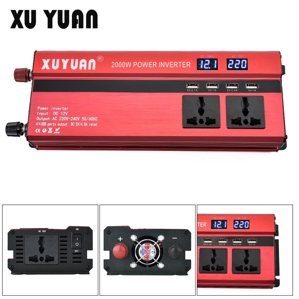 2000W 12V 24V to AC 220V 110V Aluminum Alloy Auto Car Power Inverter Adapter with 4 USB Port and Dual LCD Display Converter ohhunt hunting accessories quick release side lock scope sight laser mount w dual 7 8 picatinny rail for ak aks saiga rifle