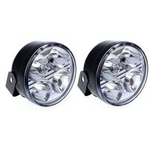 2 PCs 4 LED Round DRL Daytime Running Driving Auto Car Fog Light Lamps Bulb Kit Set Top Quality Oct 24