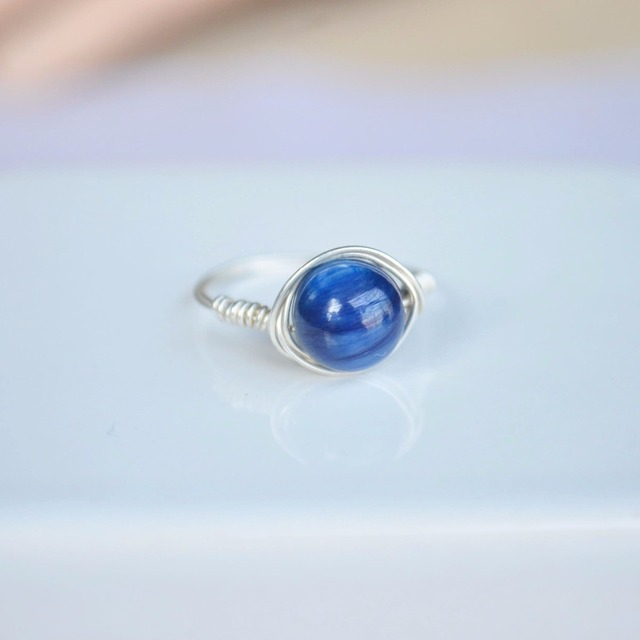 Kyanite Natural Stone Birthstone Solitaire 925 Sterling Silver Wire