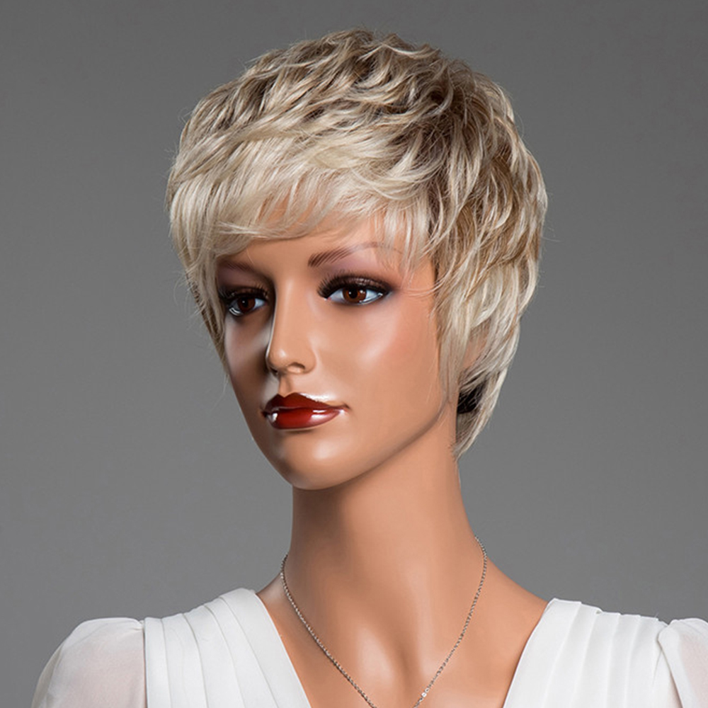 BLONDE UNICORN Synthetic 6 Inch Pixie Cut Short Straight 50% Human Hair Wig Fluffy Multi-Layered Ombre Blonde Hair Blend Wig  Lahore