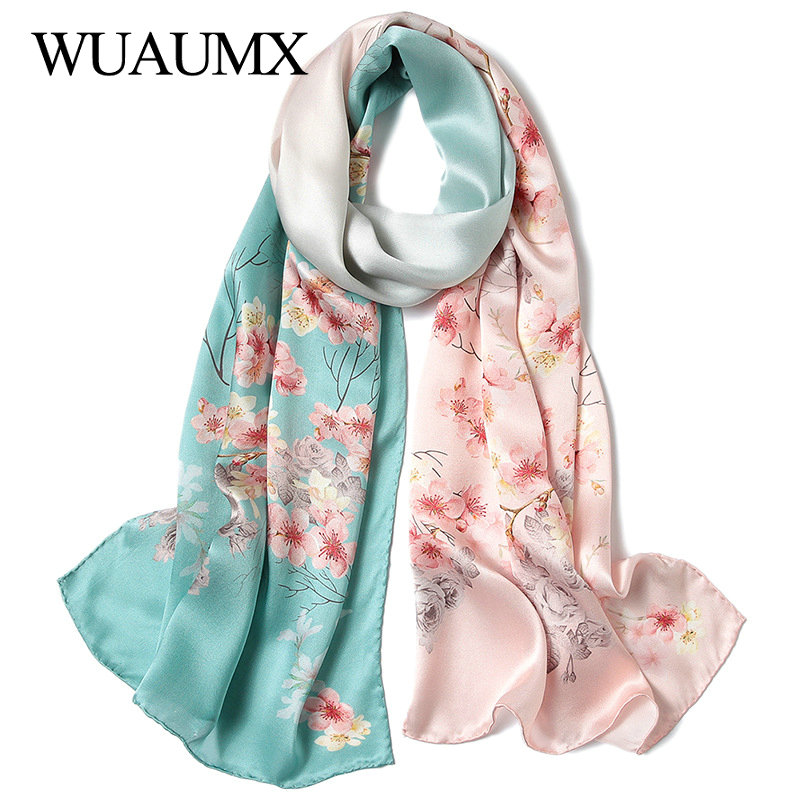 Wuaumx NEW Luxury Brand 100% Real Silk Scarf Women Chinese Style Print Ladies Pure Silk Scarves Autumn Winter Shawl Warp Foulard