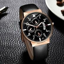 купить Business Watch Design Luminous Mens Casual Quartz Brand Watches Leather Strap Modern Gift WristWatch Relogio Masculino по цене 170.64 рублей