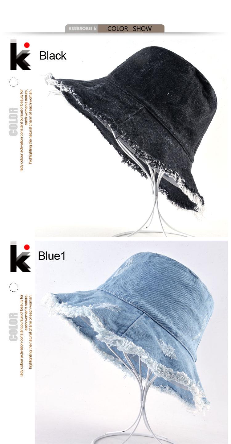 Verano lavado Denim Sombrero para el sol Moda para mujer Borla Floppy Cap  Ladies Wide Brim Beach Bucket sombreros de algodón femenino Chapeu plegable b9b130db892