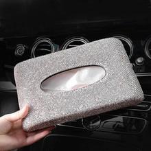 Кожаный Автомобильный тканевый ящик Корона кристалл горный хрусталь Крытая держатель Блок бумага для хранения автомобиля интерьерные аксессуары для женщин девочек