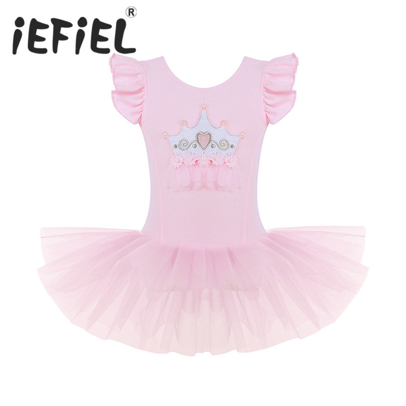 iEFiEL Kid Girls Ballet Tutu Dress Children Mesh Crown Applique Ballet Dance Gymnastics Leotard Performance Ballet Dancing Dress