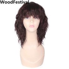 WoodFestival women cosplay brown wig with bangs heat resistant fiber synthetic short curly wigs hair  trendy chestnut brown capless shaggy curly heat resistant fiber women s chignons