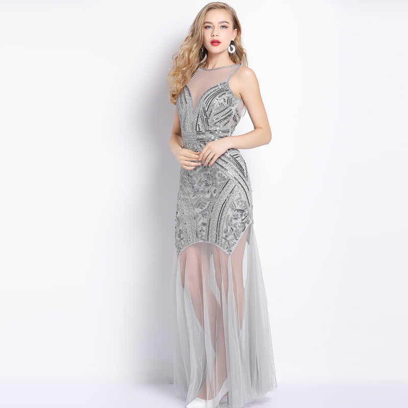 53f3bcaf90e ... Sequins Silver Beading Sexy Evening Dresses Mermaid Long Formal Prom  Party Dresses Evening Gowns Sleeveless Formal ...