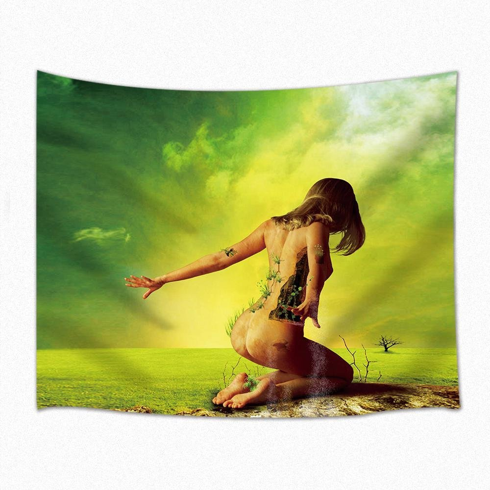 Half Naked Woman On Knees Praying Tapestry Wall Hanging for Bedroom ...