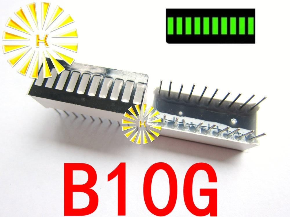 БЕСПЛАТНАЯ ДОСТАВКА 10 ШТ. x 10 Сегмент Зеленый Цифровые СВЕТОДИОДНЫЕ Трубки Бар 10*25 мм Дисплей Модуль B10G