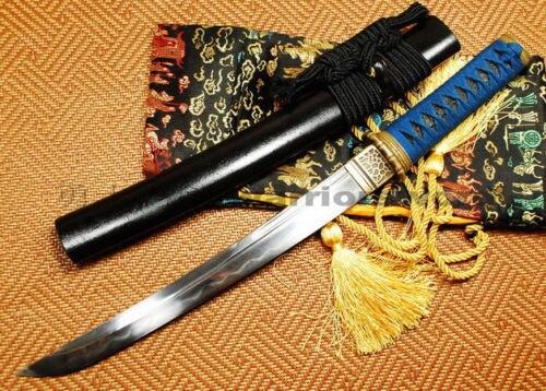 Épée de samouraï japonais Tanto argile trempé lame en acier plié très pointu # T011