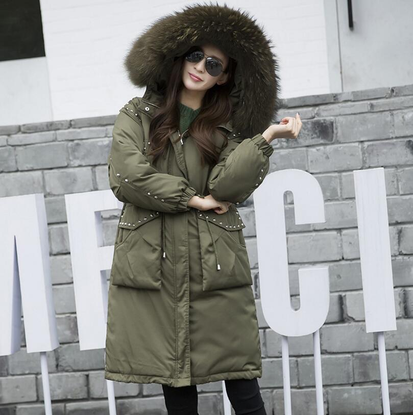 New Winter Women Down Parkas Big Fur Collar Slim Hooded Parkas Medium Long Rivet Punk Warm Army Green down Coat s1315 women winter jacket down 2018 new fashion hooded warm medium long solid color coat long sleeve slim big yards parkas ladies336