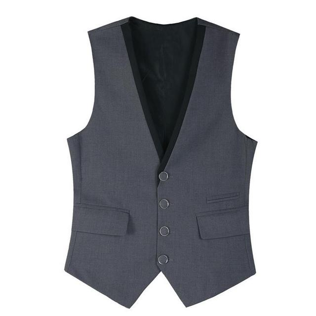 Suit Vest Men Gray Black 4 Button Patchwork Stylish Waistcoat Design British Style Business Casual Mens Work Vest Jacket