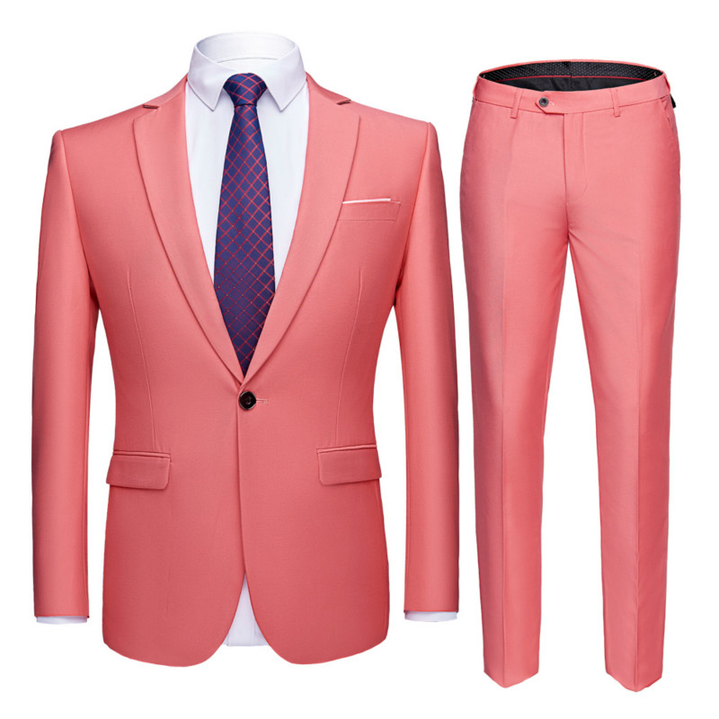 2019 Men's Solid Color Two-piece Suit (coat + Pants)  Twenty Colors Optional Large Size S-6XL Men To Work Business Casual Suits