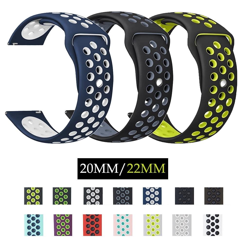 20mm Silicone Remplacement Respirant Bande de Montre Pour Garmin Vivoactive 3, Samsung Vitesse S2 S3 22mm Sport bracelets de montres bracelet