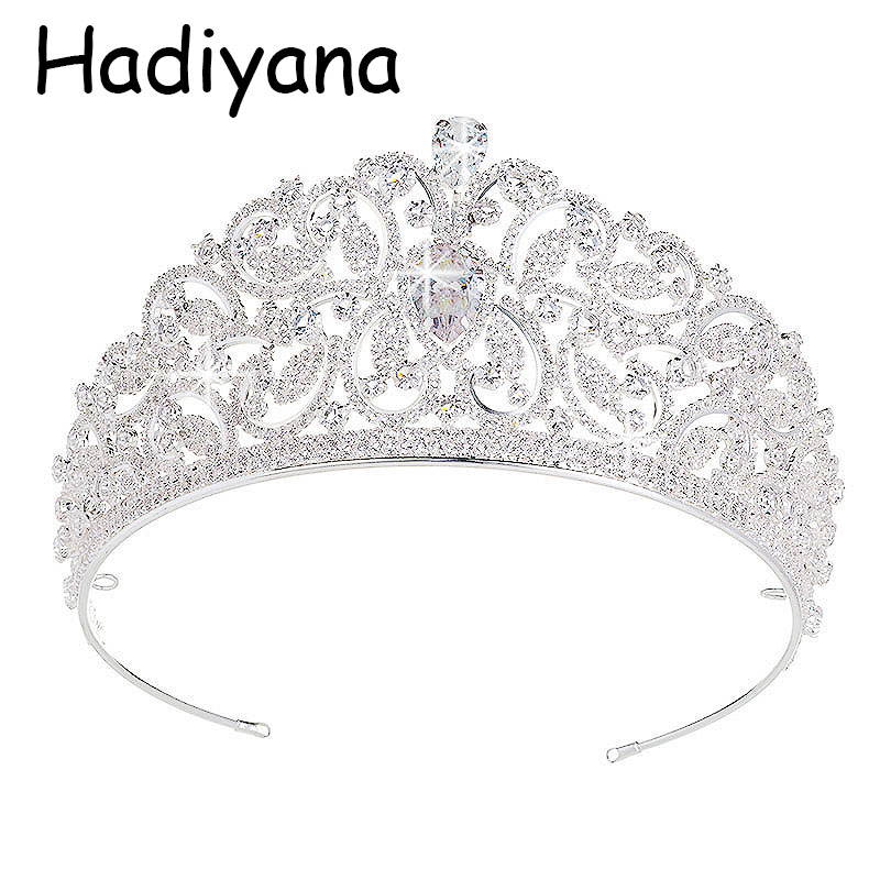Hadiyana Baroque Luxury CZ Bridal Flower Crown For Wedding Party Prom Vintage Big King Queen Tiara Crowns Drop Shipping HG6023