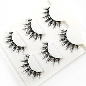 Image 1 - YOKPN 3 Pairs 1 Box Lashes Fashion 3D Stereo Fasle Eyelashes Simulation Makeup Fake Eye Lashes Short Eyelash Extension Tools