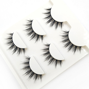 YOKPN 3 Pairs 1 Box Lashes Fashion 3D Stereo Fasle Eyelashes Simulation Makeup Fake Eye Lashes Short Eyelash Extension Tools