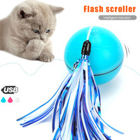 Cat Toys Ball 360 Degree Automatic Rotation USB Rechargeable Pet Toy Detachable Feathers HYD88