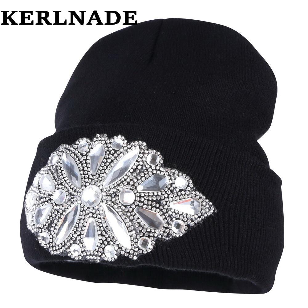 women wool winter hat brand   skullies     beanies   Custom designer luxury rhinestone style warmer casual winter hats girl beauty gorro