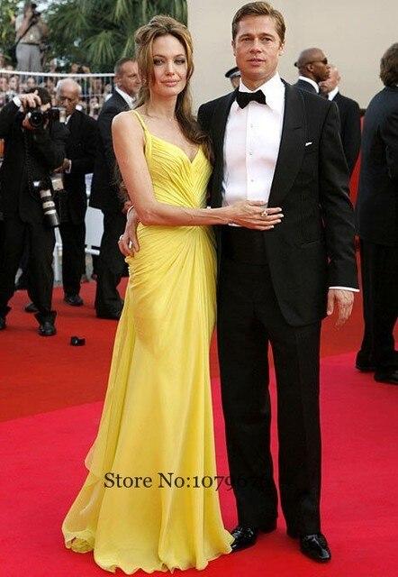 Fashionable Yellow Formal Long Evening Dresses Spaghetti Strapless ...