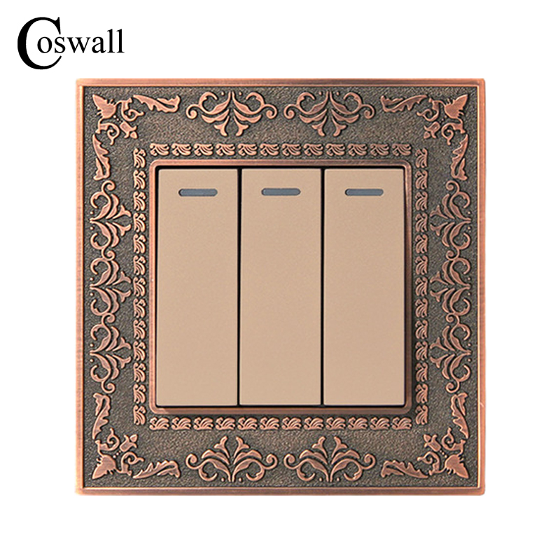 Coswall 3 Gang 1 Way Wall Switch 4D Embossing Retro Zinc Alloy Panel Luxury On / Off Light Switch 16A AC 110~250VCoswall 3 Gang 1 Way Wall Switch 4D Embossing Retro Zinc Alloy Panel Luxury On / Off Light Switch 16A AC 110~250V