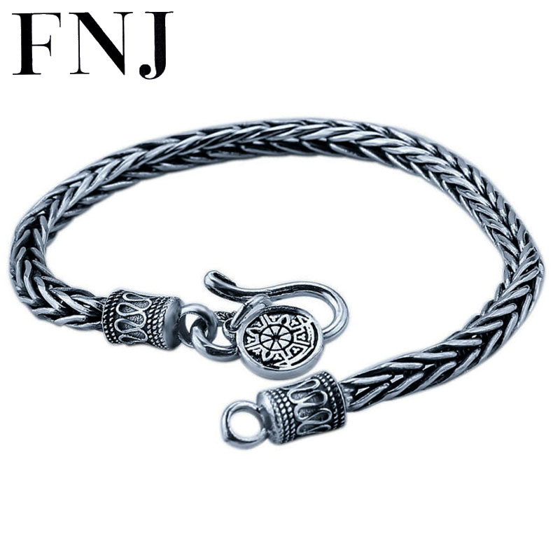 4mm 5mm 18-22CM Bracelet 925 Sterling Silver Rope Chain 100% S925 Solid Thai Silver Men Bracelets for Women Jewelry s925 sterling silver bell lucky red rope bracelet handmade bracelets wax string amulet jewelry 1383