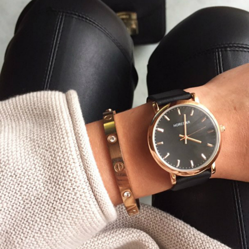 Luxury Brand Watches Women Fashion Classic Black Leather Wrist Watch Waterproof Ladies Simple Quartz Wristwatch New Clock classic simple star women watch men top famous luxury brand quartz watch leather student watches for loves relogio feminino