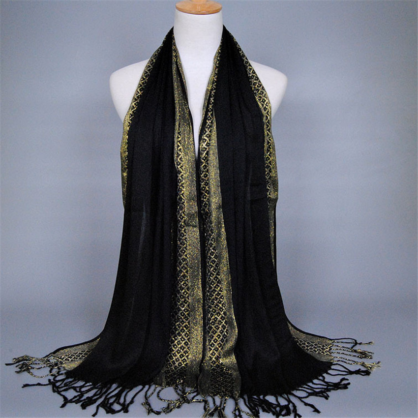 Brown Camel Check Crinkle Long Scarf Sparkly Silver Lurex Tassels Lightweight