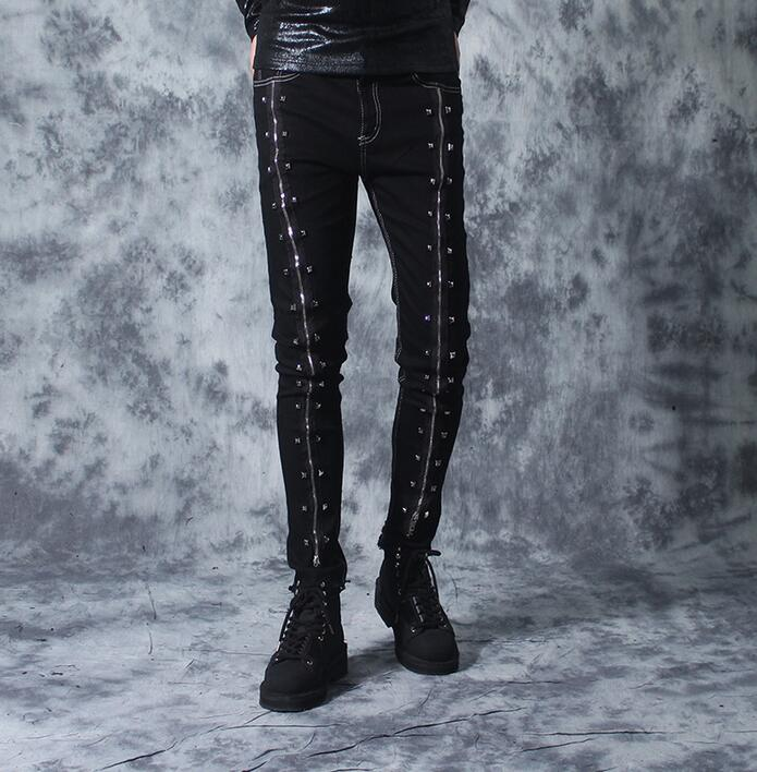 Male punk rivet personality zipper jeans men slim skinny pants mens trousers 2018 autumn winter fashion pantalones hombre black