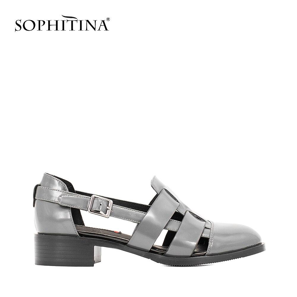 SOPHITINA Casual Sandales de Haute Qualité En Cuir Verni Doux Épais Talon Boucle Sangle Sandales Bleu Noir Gris Creux Chaussures Femmes S12