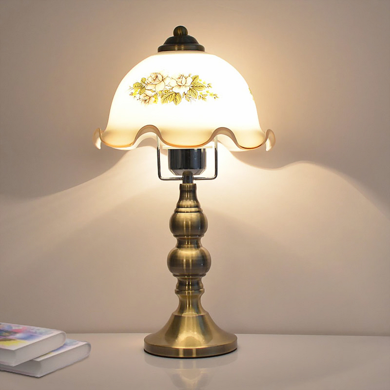 Table Lamp Stained Glass European retro bedroom Desk Lamps bedside lamp Classic for Living Room Table Lamps E27 AC110-240V european retro peacock resin wall aisle living room bedroom decoration lamp size 40 49cm ac110 240v