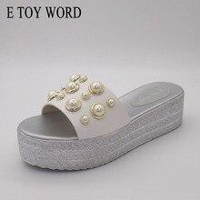 купить E TOY WORD Plus Size 40-43 Summer Women slippers Fashion Pearl Beach Sandals High heel shoes Platform flip flop women Shoes по цене 1027.56 рублей