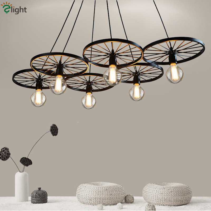 American Industrial Creative Iron Wheel Led Chandelier Hanging Wheels Edison Chandeliers For Bar Loft vintage clothing store personalized art chandelier chandelier edison the heavenly maids scatter blossoms tiny cages