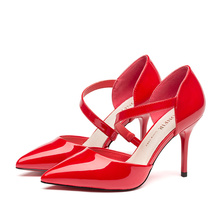3สีของผู้หญิงบางส้นสูงหัวเข็มขัดPoinedเท้าปั๊มหญิง ราตรีหรูหรารองเท้าส้นสูงผู้หญิงส้นเท้าด้านล่างสีแดงสำหรับผู้หญิงร้อน