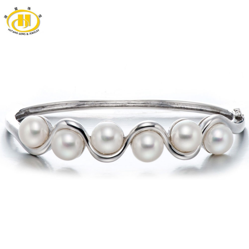 Hutang Pearl Jewelry Solid Sterling Silver Freshwater Pearl 925 Bangle Bracelet Wedding Party Fine Fashion Jewelry (8-8.5mm) 5pcs fashion 925 sterling silver fine jewelry bangle